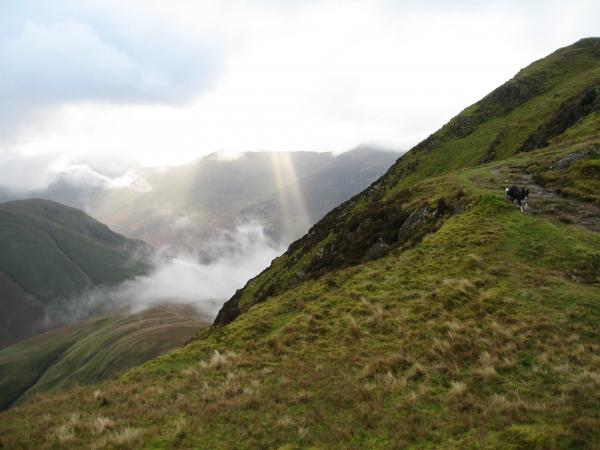 Sunbeams as we approach Whiteless Pike