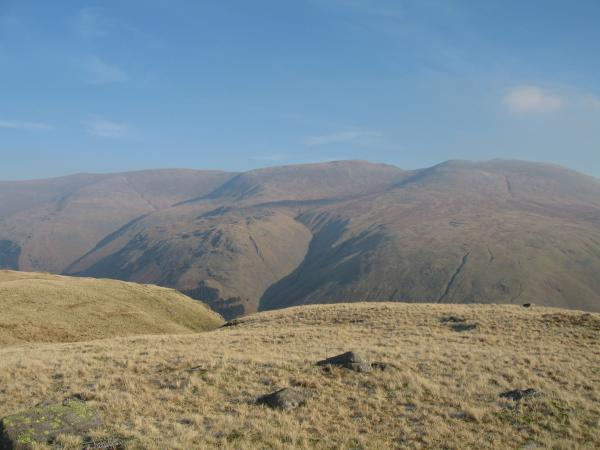 Helvellyn, Nethermost Pike and Dollywaggon Pike from Steel Fell