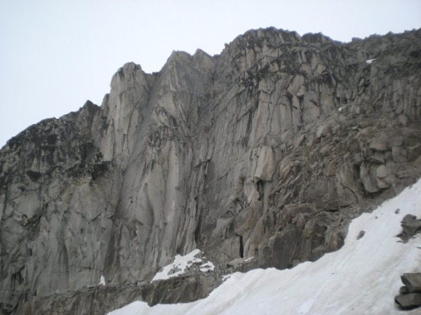 Crescent Spires - McTech Arete follows the groove and diagonal crackline immediately left of the snow