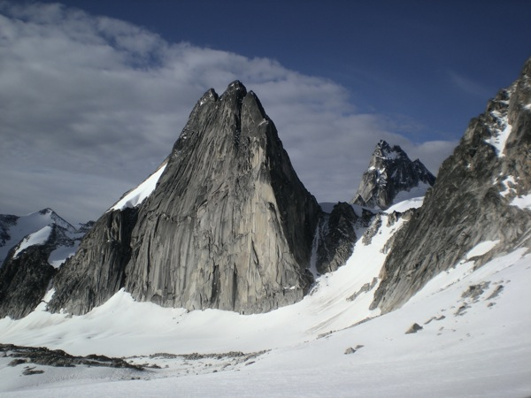 Snowpatch Spire, the Bugaboo-Snowpatch Col and Pigeon Spire in the background. Spot the parties below Snowpatch. No, not the rock fall - look again!
