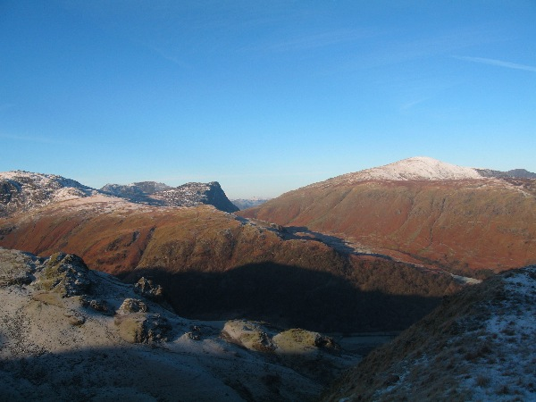 Fleetwith Pike and Dale Head from the approach path to Rosthwaite Fell