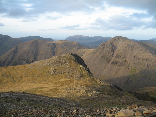 Lingmell and Lingmell Col with Kirk Fell and Great Gable beyond