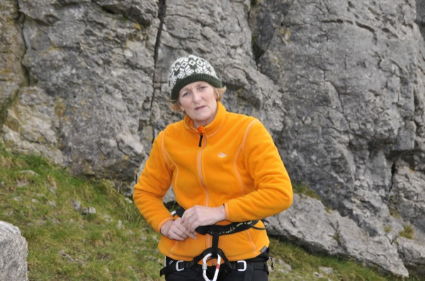 Vikki having just completed Crack Climb, VD