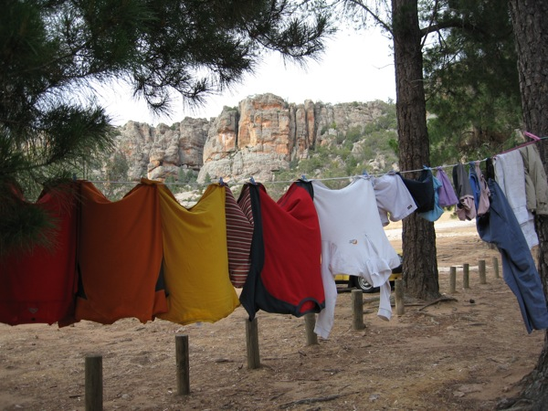Washing drying at the Pines campground