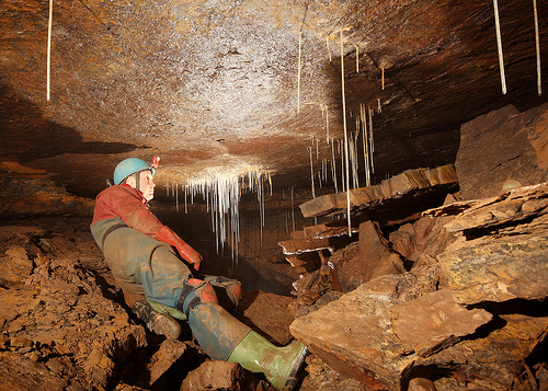 Keith in a shale collapse Chamber in Productus Passage