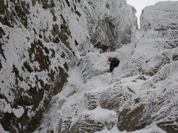 Jon on the mixed section of Right branch, chimney finish