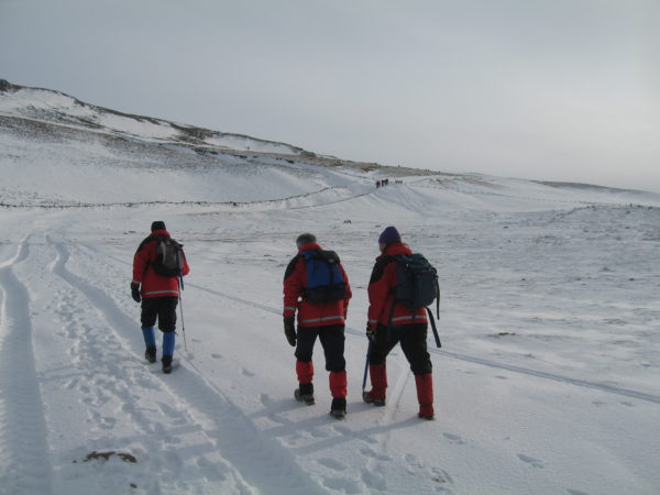 The long walk up - track blocked by big drifts