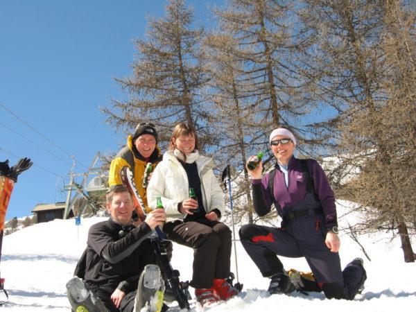Enjoying a beer on piste... (piste on piste??)