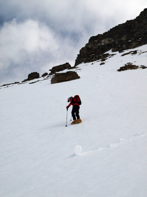 Everett cramponing to the col between Mts. Niblock and Whyte