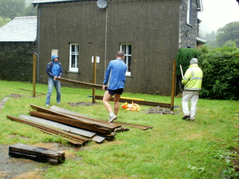 Early stages of the fence erection