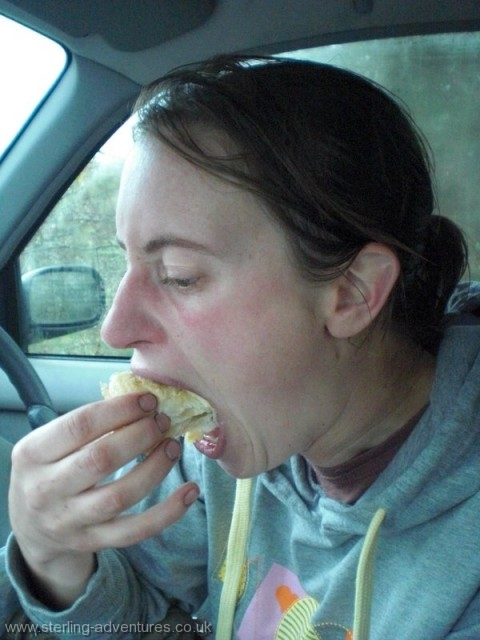 Rachel consumes the pear pastry