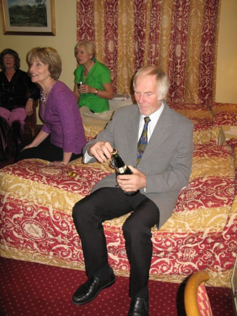 More pre-dinner drinks - our host, Mike Mortimer, shares a bottle of bubbly!