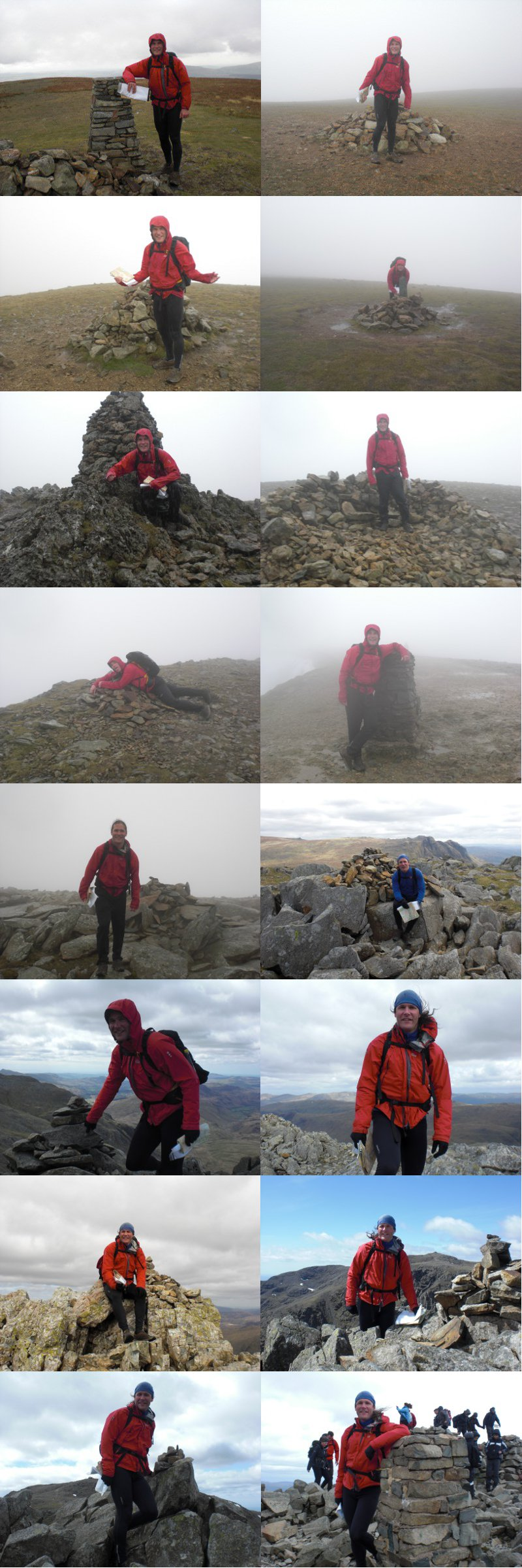 All the peaks we visited (apart from three where the camera failed).