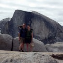On top of North Dome with Half Dome behind us.