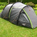 The tent has a door and a clear plastic window (with storable curtain on the inside) on both sides.