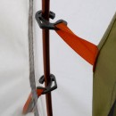 Flysheet and inner tent hooked on to the poles