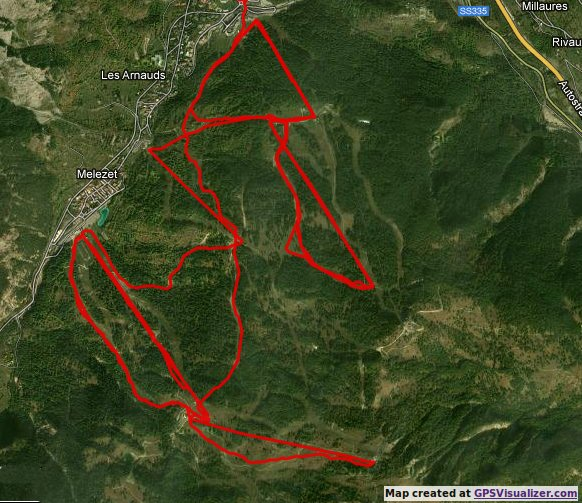 Our GPS track for the afternoon. 30km, 2850m of climb.