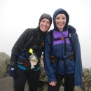 Keri and Elsie at the top of Bowfell