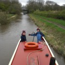 Mum steering the barge