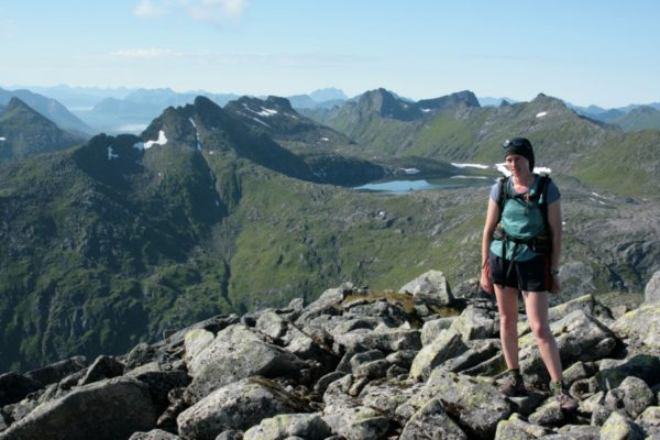 Rachel climbing the ridge on Rundfjellet, with the high-level lakes in the background.