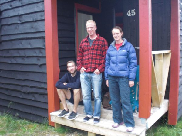 Peter, Johan and Rachel at the entrance to our cabin.