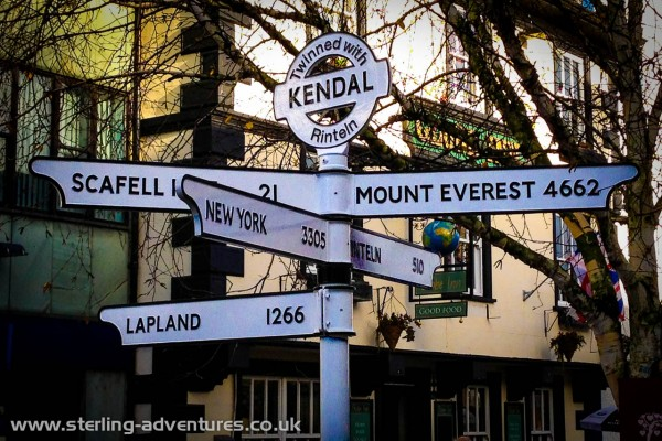 Kendal town centre - it's just 4,662 miles to Everest!