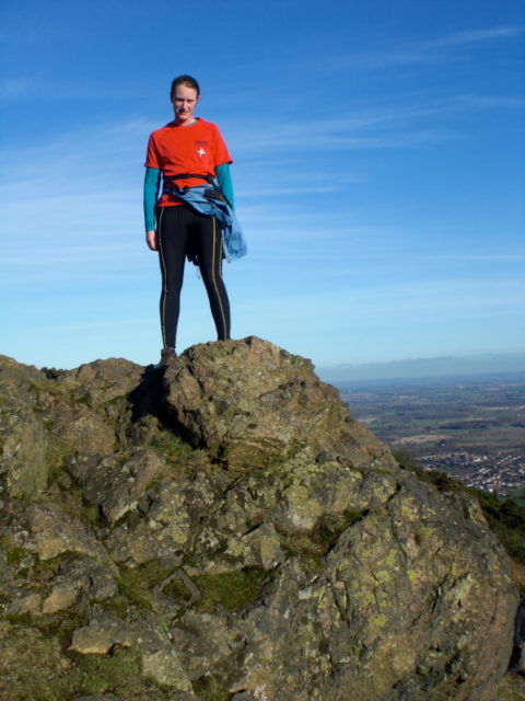 Rachel enjoying the views on the Worcestershire Beacon ridge.