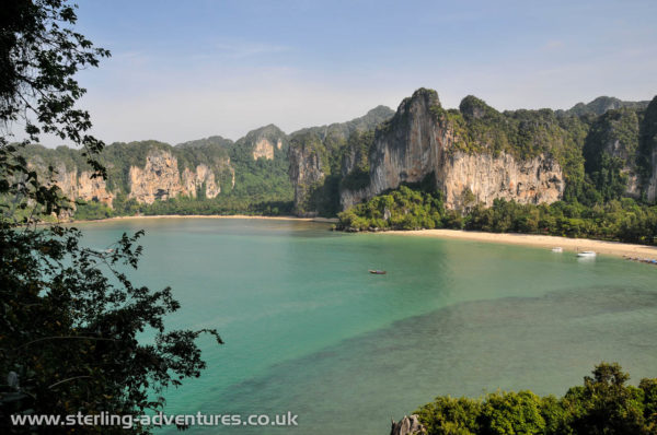 The view of Railay.  Ton Sai is on the left and Railay West on the right.