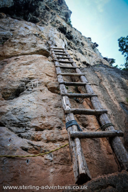A convenient ladder leading up to routes on Thaiwand Wall.