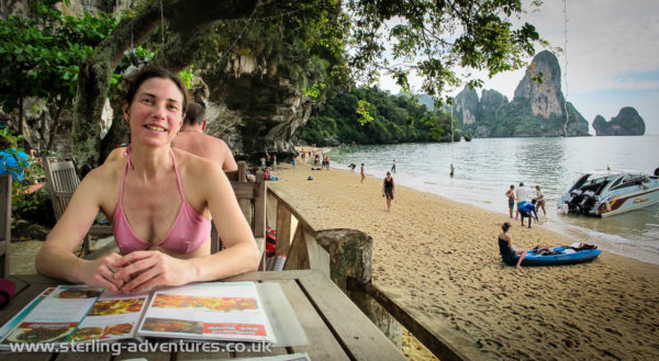 Checking out the menu at Tonsai Beach.