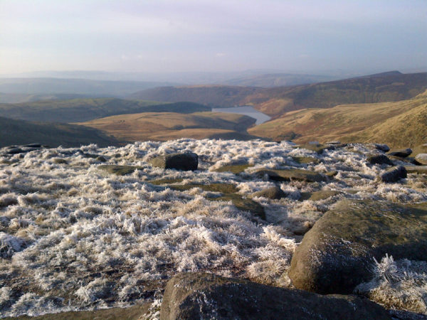 View from the Kinder Plateau over Hayfield Reservoir
