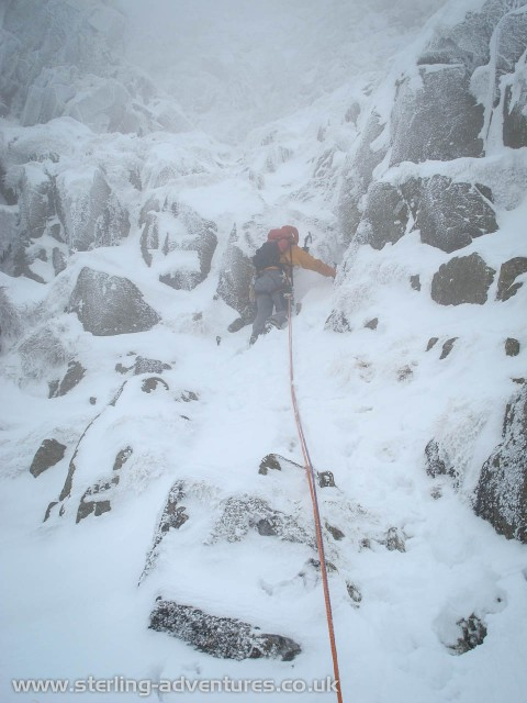 Pete starting up Central Gully.