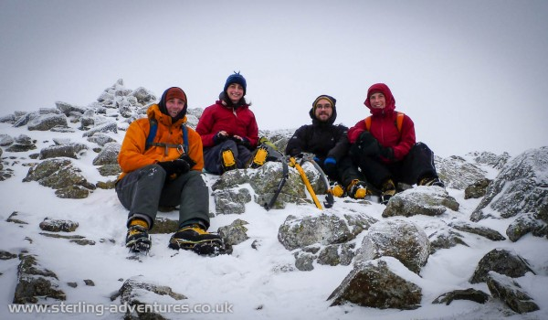 Pete, Helen, Kris, and Laetitia on Wetherlam Summit