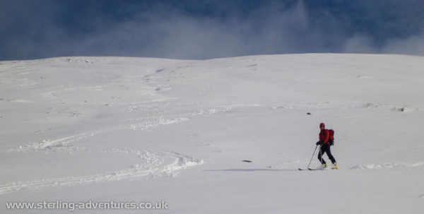 Our tracks skiing down towards Kentmere Reservoir