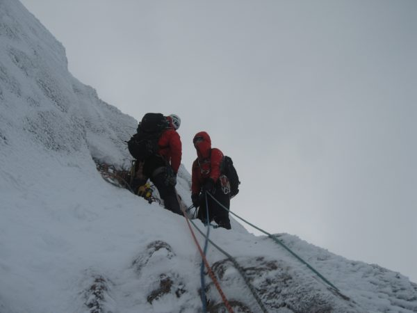 Belaying at the top of the second pitch