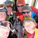 Excited skiers in the Checrouit bubble-car: John, Rebecca, Mathias, Pete, Richard, and Laetitia