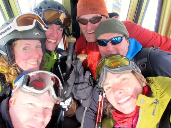 Excited skiers in the Checrouit bubble-car: Jon, Rebecca, Mathias, Pete, Richard, and Laetitia