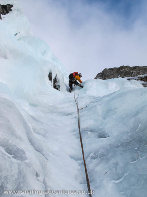 Tackling the crux of the Pumpkin's 1st pitch, a short ice bulge.