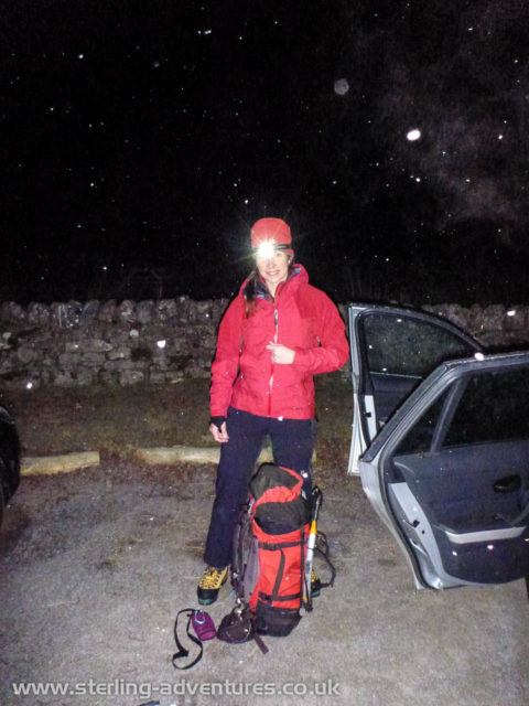 Laetitia getting ready at 4.30AM to depart the Creag Meagaidh car park after a short night's sleep in the back of the car.