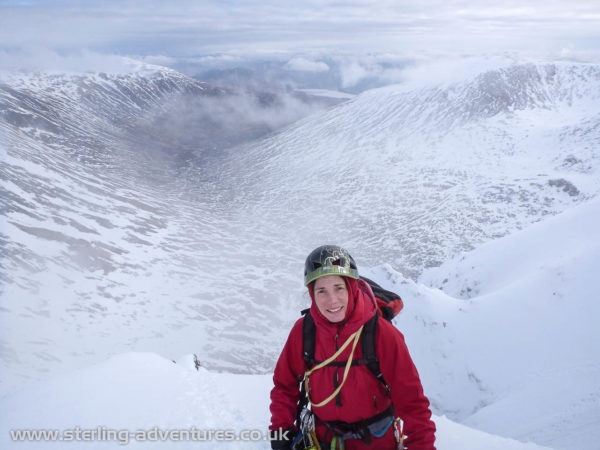 The view down Coire Ardair from the top of the 4th pitch of the Pumpkin.  A frozen Loch Laggan is visible in the distance, and we could just see Ardverikie House on the far shore.