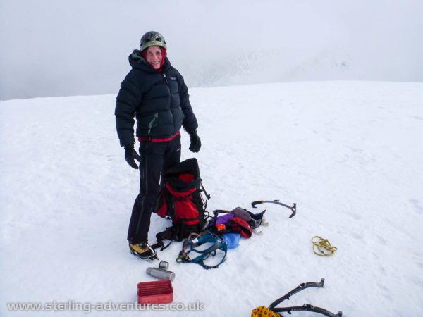 Laetitia sorting our gear on the summit of Creag Meagaidh