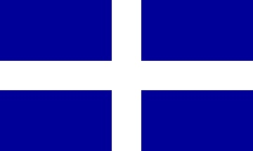 A Cumbrian flag with a simple (Scottish?) design.