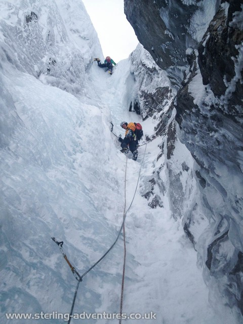 One of the awesome enclosed ice-chimney pitches of Point Five Gully