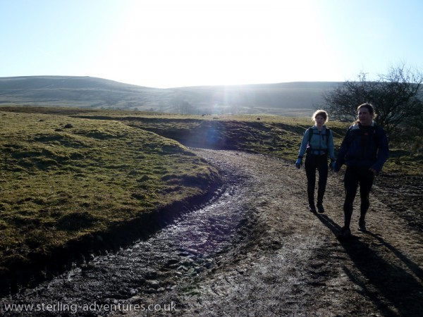 Amy and I coming down the final hill from Hollins Cross.