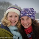 Saskia and Laetitia happy in the snow at Darley Abbey Park