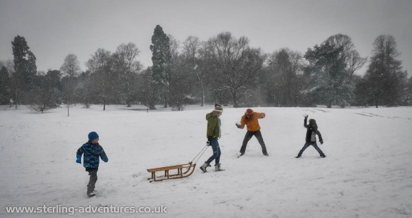 Oliver, Saskia, Pete, and James get stuck in to all out snow-ball warfare!