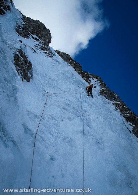 Pete on the first steep water-ice pitch of Last Post