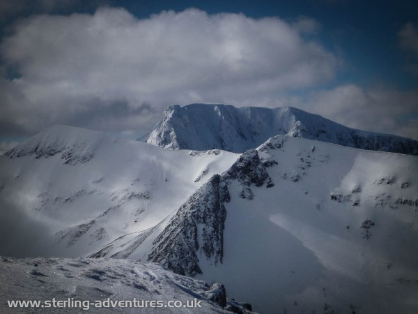 The North Face of Ben Nevis in amazing winter condition seen from Aonach Mor