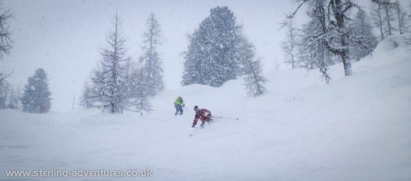 Ian and Chris in the Magic Forest at Les Grands Montets