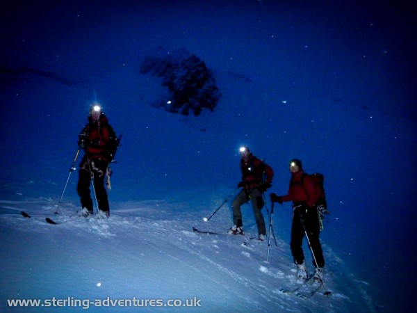Skinning up towards Mont Blanc, having woken in the Grand Mulets hut at 1.30AM